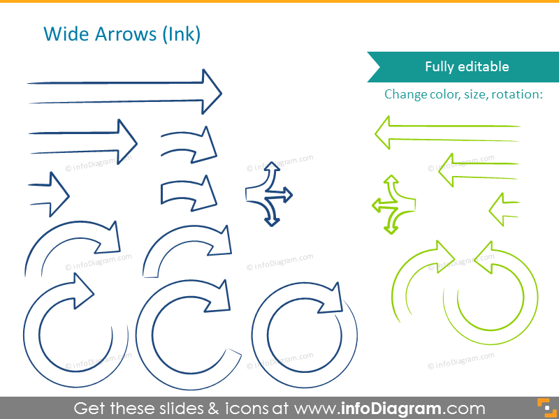 Wide arrows illustrated in ink style
