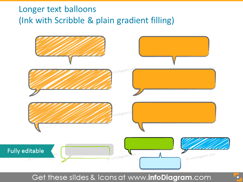 Ink text balloons with scribble and plain gradient filling
