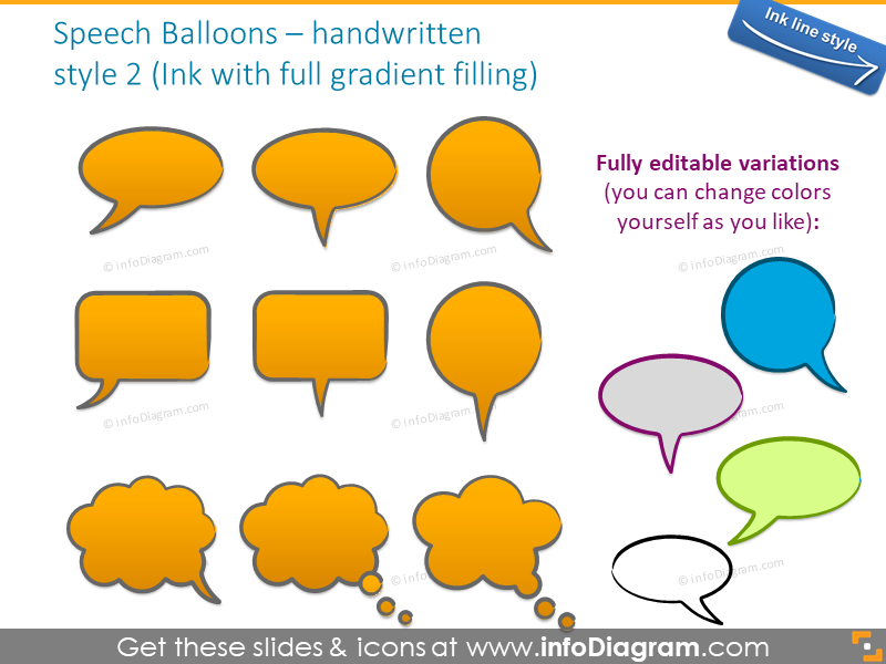 speech bubbles handwritten sketch ink gradient powerpoint clipart shapes