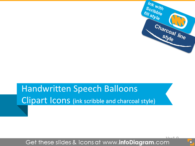 Handwritten speech balloons icons