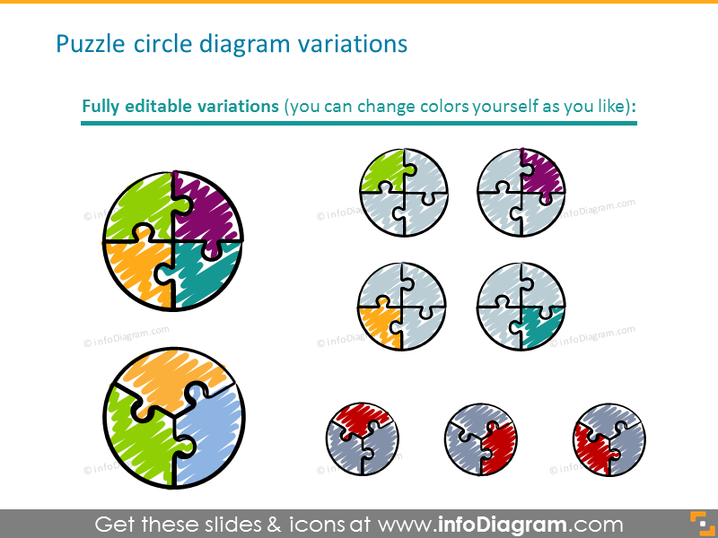 Puzzle circle diagram variations
