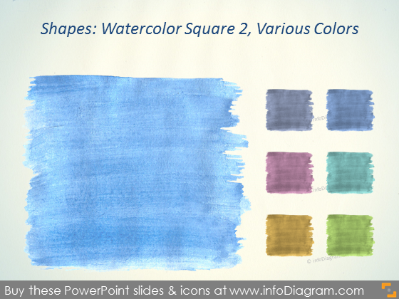 Watercolor square Brush blue Aquarelle ppt icons