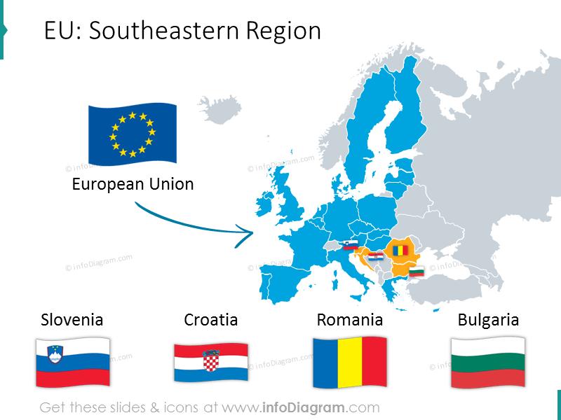 EU southeastern region map: Slovenia, Croatia, Romania, Bulgaria