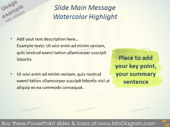 Watercolor Highlight key message powerpoint clipart picture