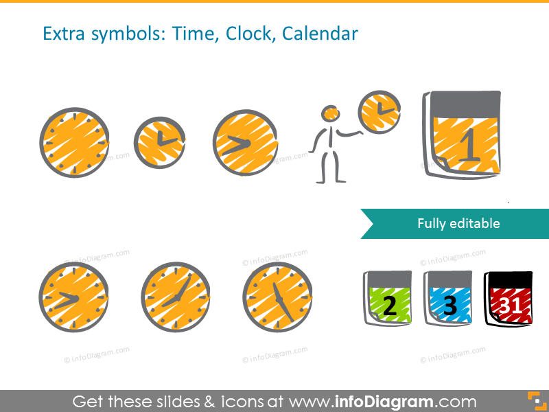 Handwritten Symbols clock calendar time clipart ppt