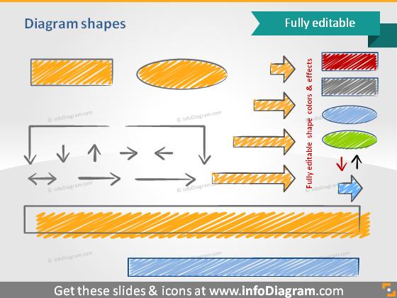 PPT sketch arrow rectangle scribble diagram shapes