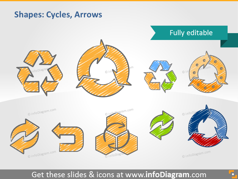 Scribble arrows recycle double ppt icons clip art