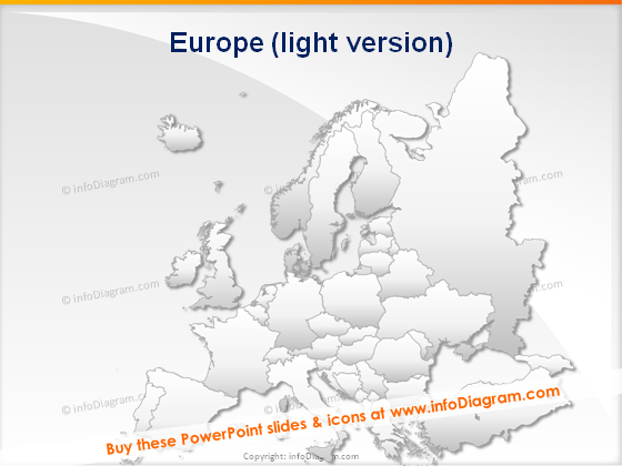 Europe map supply chain PPT clipart