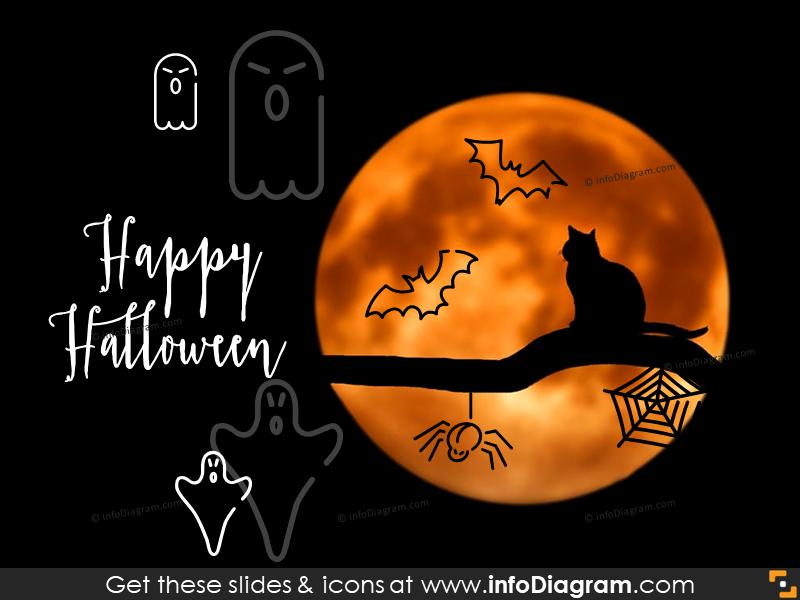 halloween bat spider icons powerpoint clipart