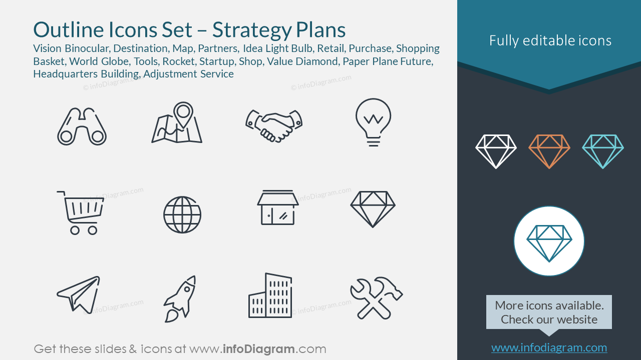 Outline Icons Set – Strategy Plans