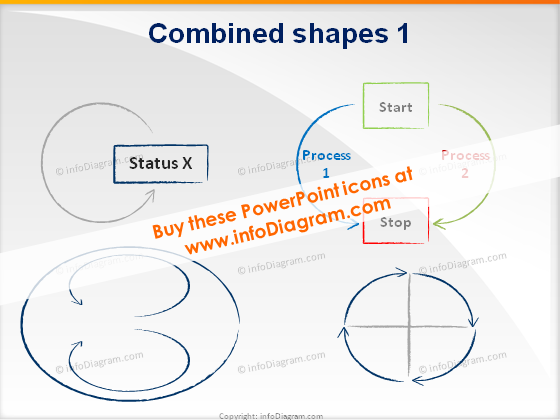 Shapes cycles icons ppt clipart charcoal