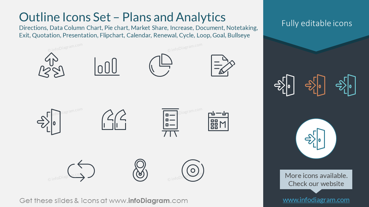 Outline Icons Set – Plans and Analytics