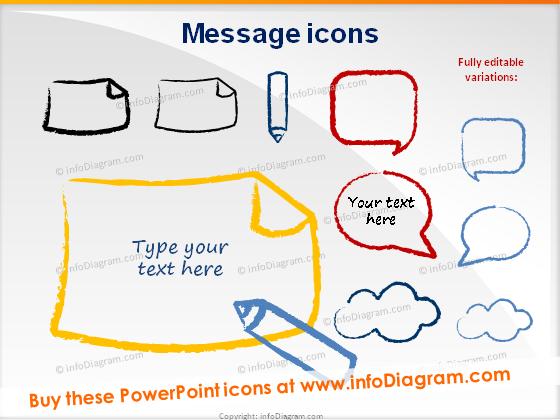 message bubble cloud pencil icons powerpoint