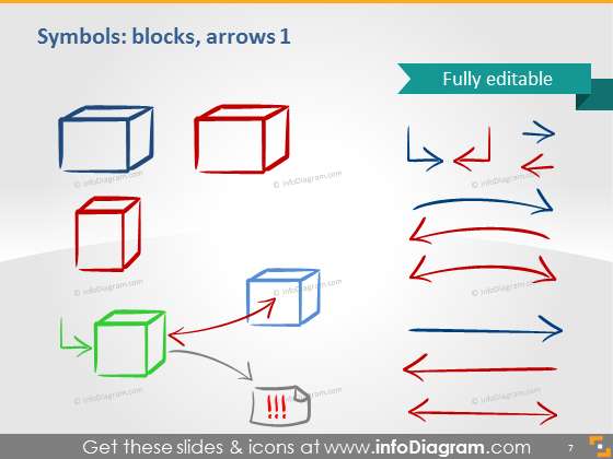 Symbols blocks arrows icons ppt clipart
