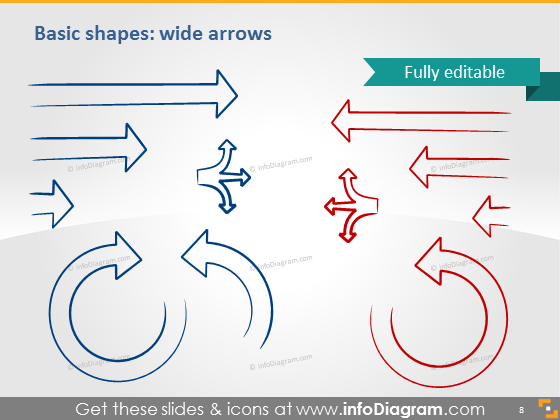 Shapes wide arrows icons ppt clipart