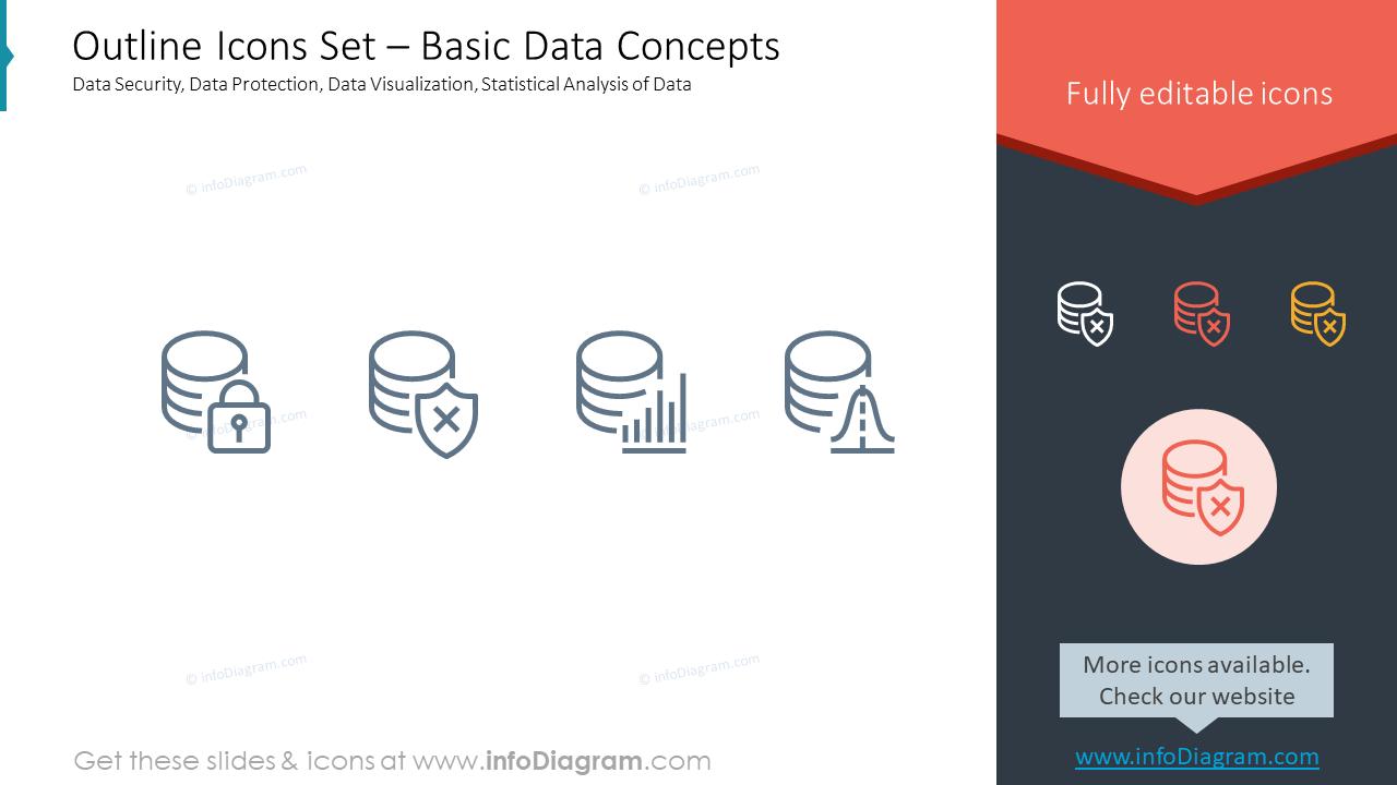 Outline Icons Set – Basic Data ConceptsData Security, Data Protection, Da…