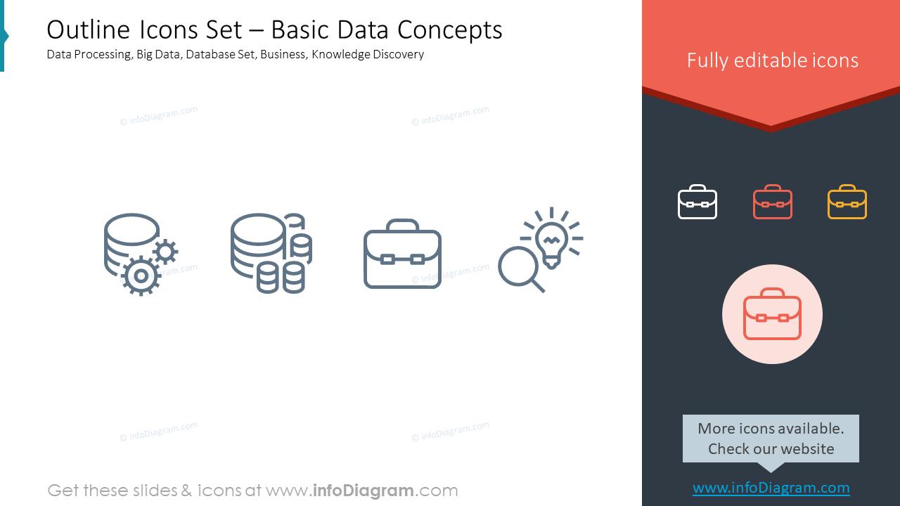 Outline Icons Set – Basic Data ConceptsData Processing, Big Data, Databas…