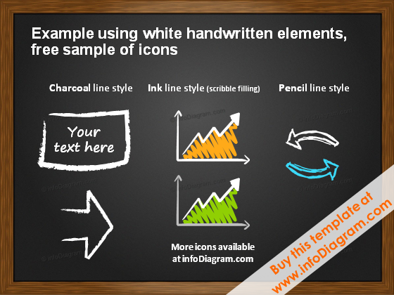 White handdrawn icons on Blackboard pptx template