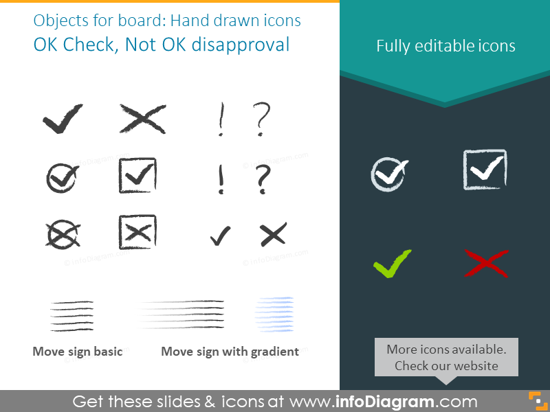 Hand drawn icons set for a Kanban board