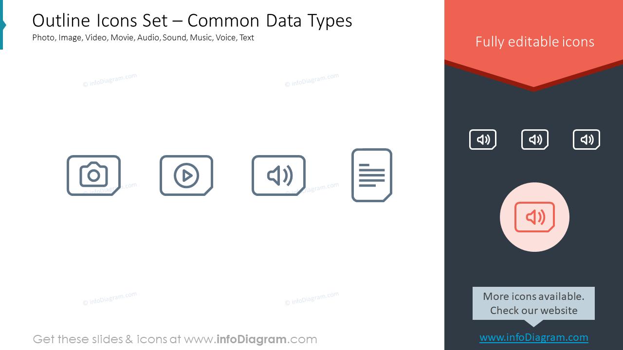 Outline Icons Set – Common Data TypesPhoto, Image, Video, Movie, Audio, S…