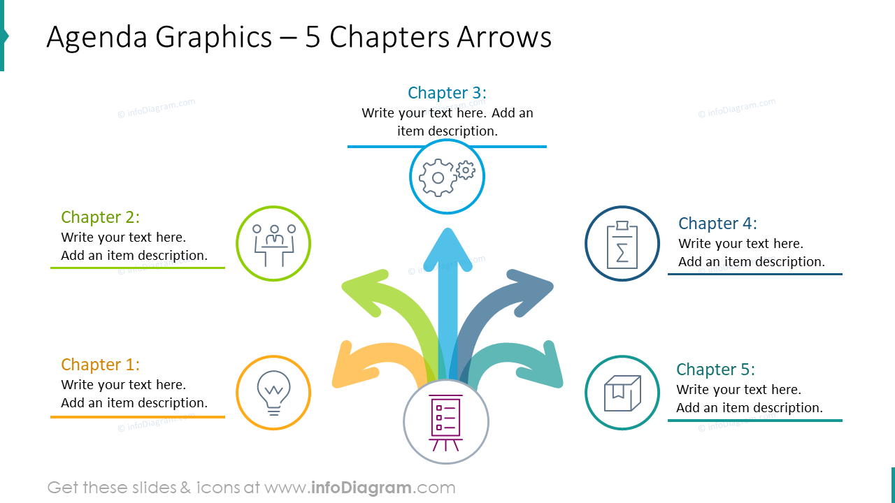 Agenda graphics with 5 chapters arrows