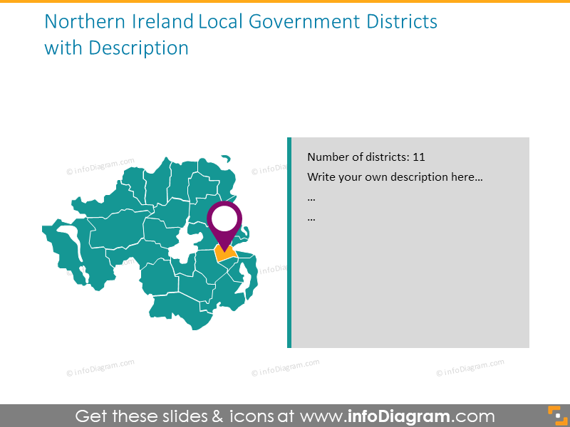 Northern Ireland district map illustrated with pins