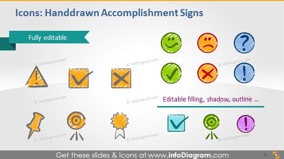 Handdrawn accomplishment signs sketch goal deadline