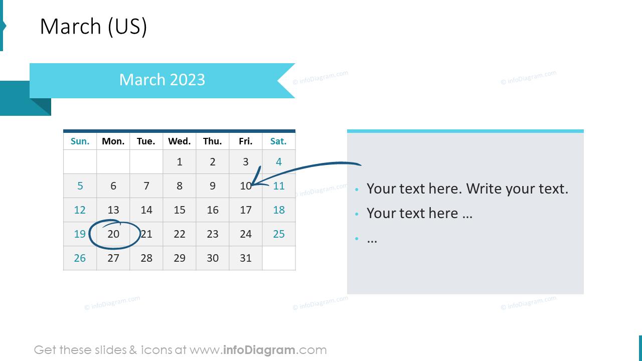 March 2022 US Calendars