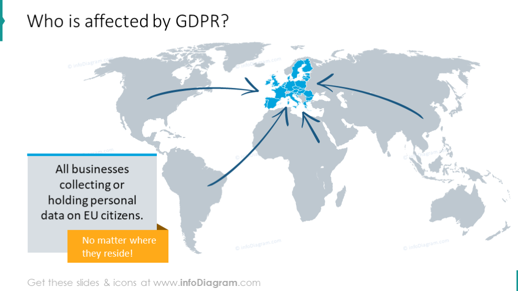World map template that shows who is affected by GDPR