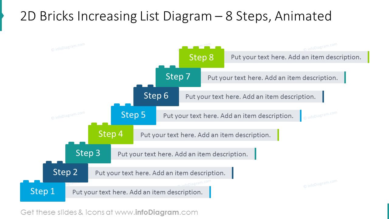 2D bricks increasing list diagram with 8 steps