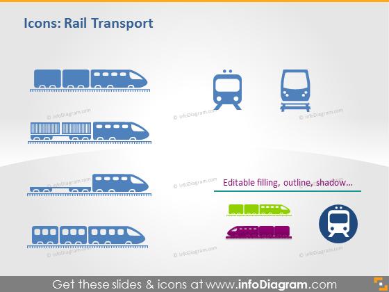 Logistic icons transport rail locomotive powerpoint clipart