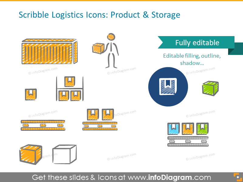 Scribble product and storage icons set