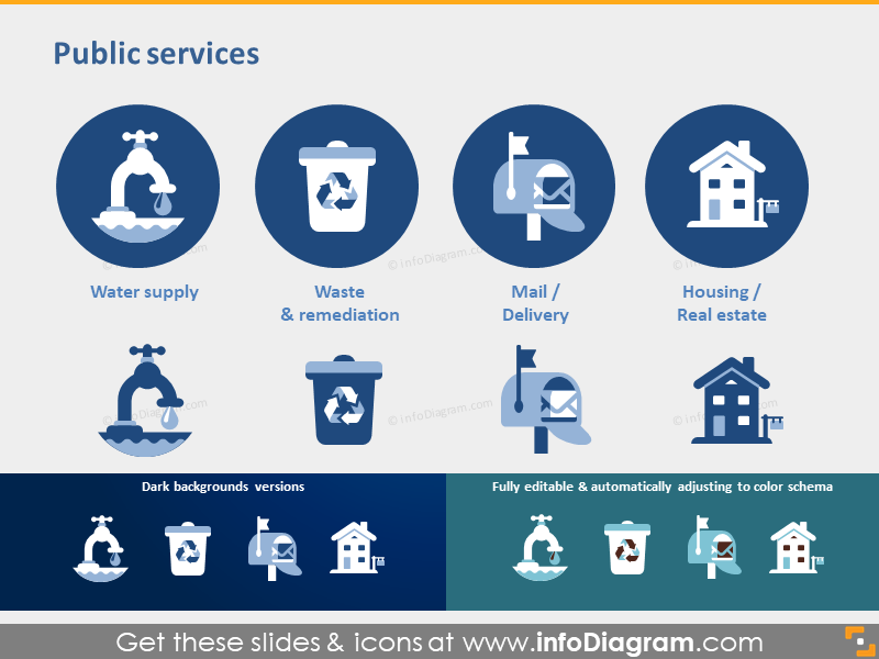 water supply waste mail housing sector powerpoint icon