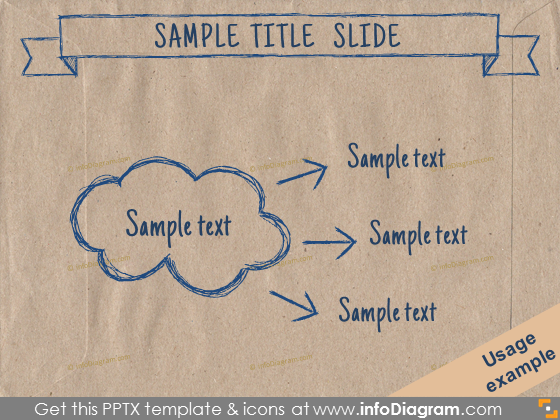 brown eco paper powerpoint diagram cloud split arrow slide