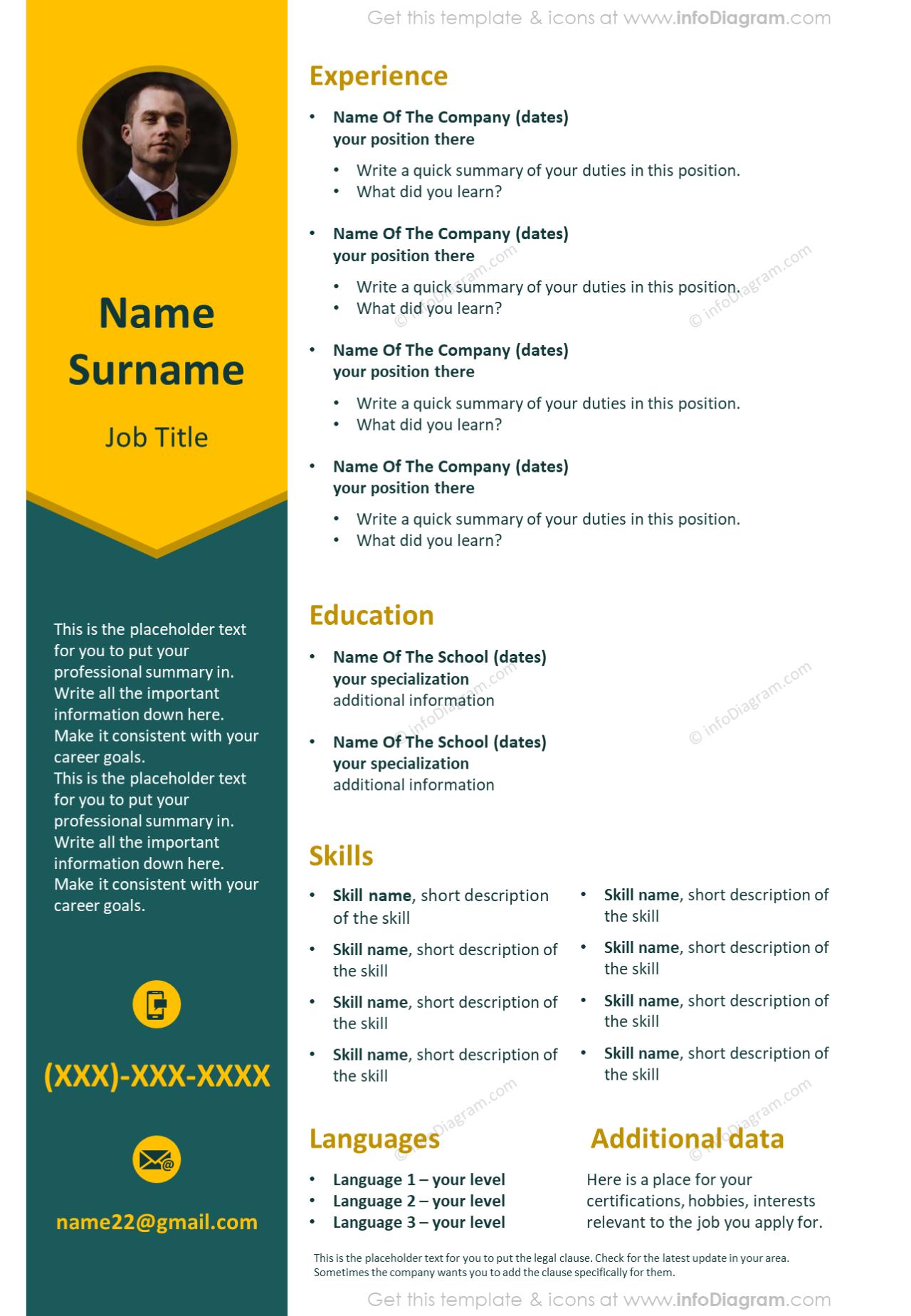 Vivid stripe visual resume shown with slide template
