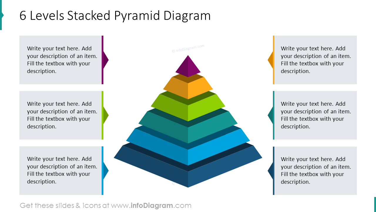 Six levels stacked pyramid diagram