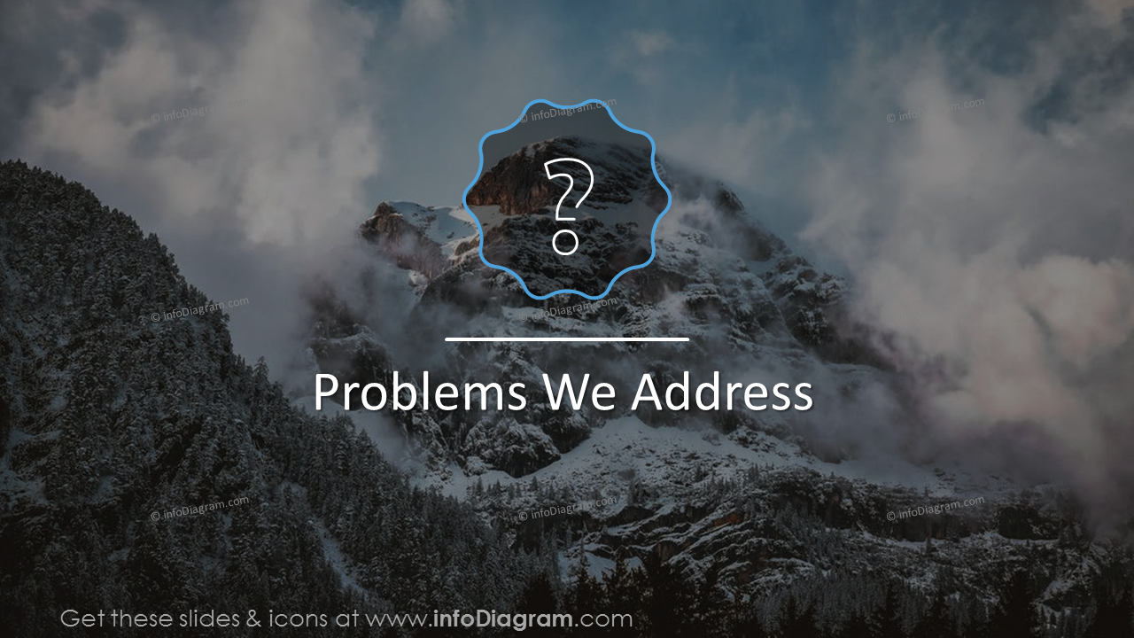 'Problems We Address' slide on a mountain picture background