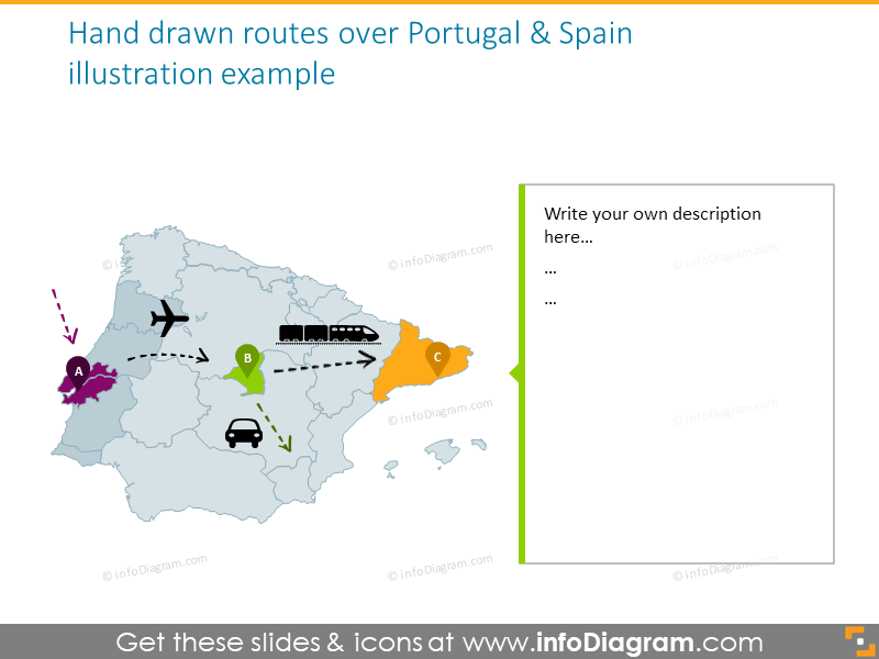 Hand drawn routes map of Portugal and Spain