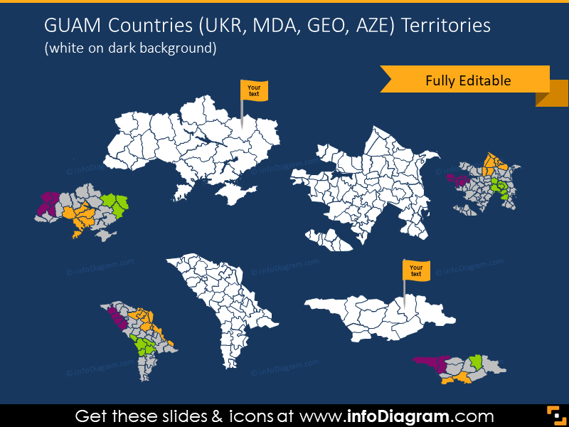 UKR, MDA, GEO, AZE Territories map