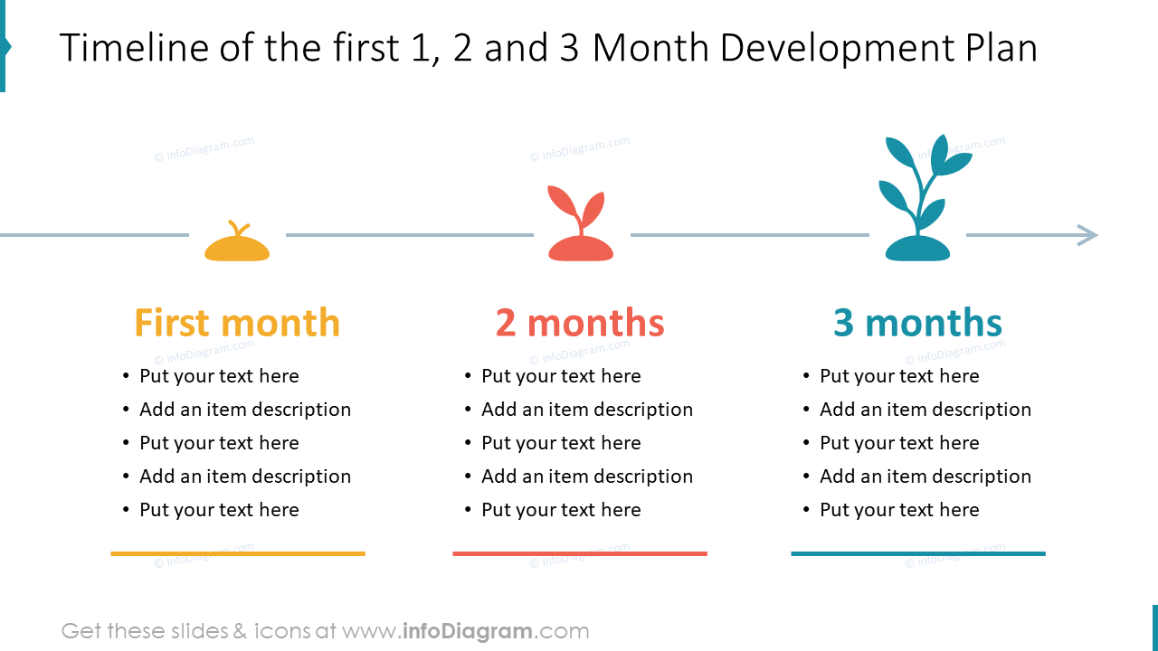 Timeline of the first 1, 2 and 3 Month Development Plan