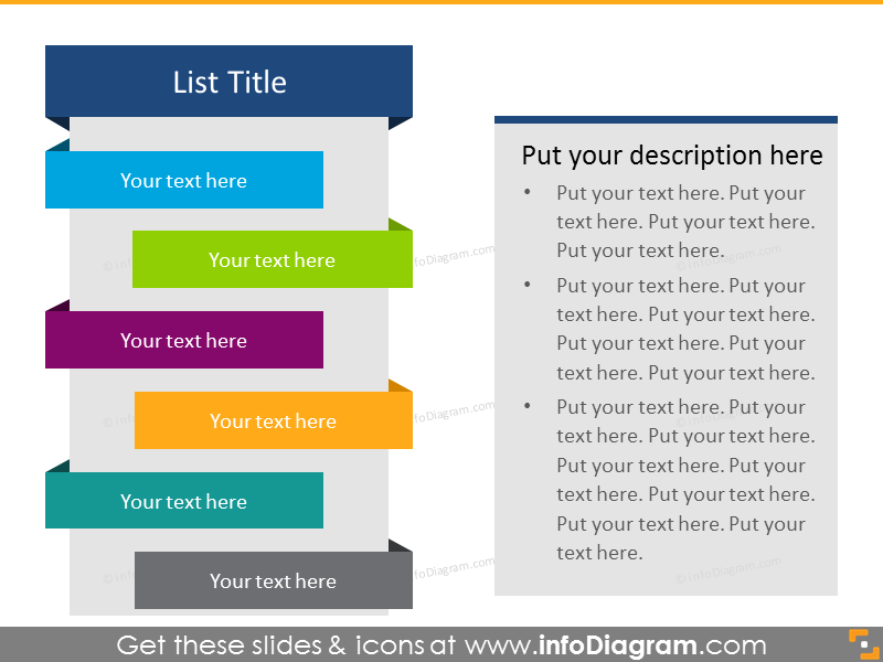 Flat Ribbon List in color for placing 6 items with text box