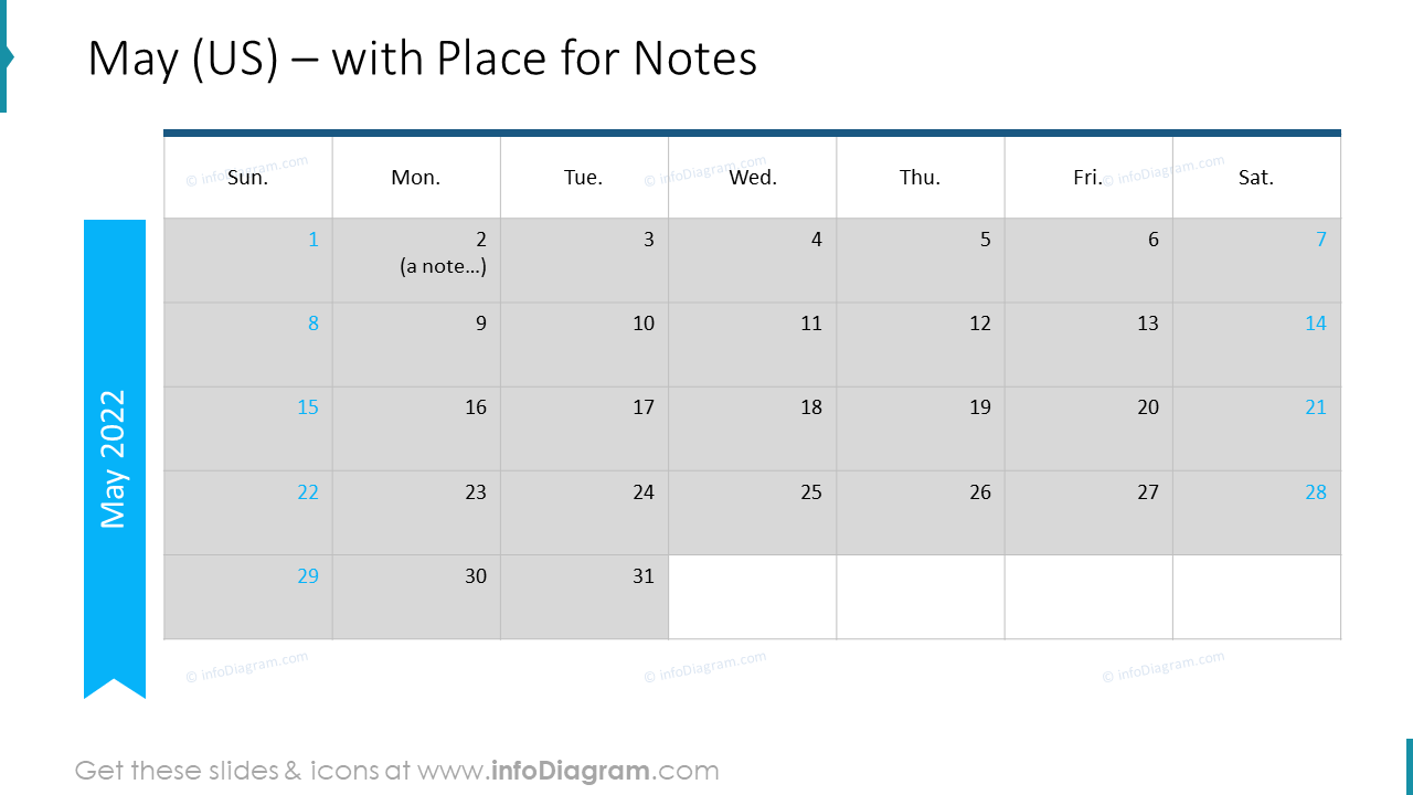 May Calendars 2022 US with notes plan