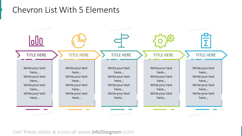 Example of the 5 elements chevron list