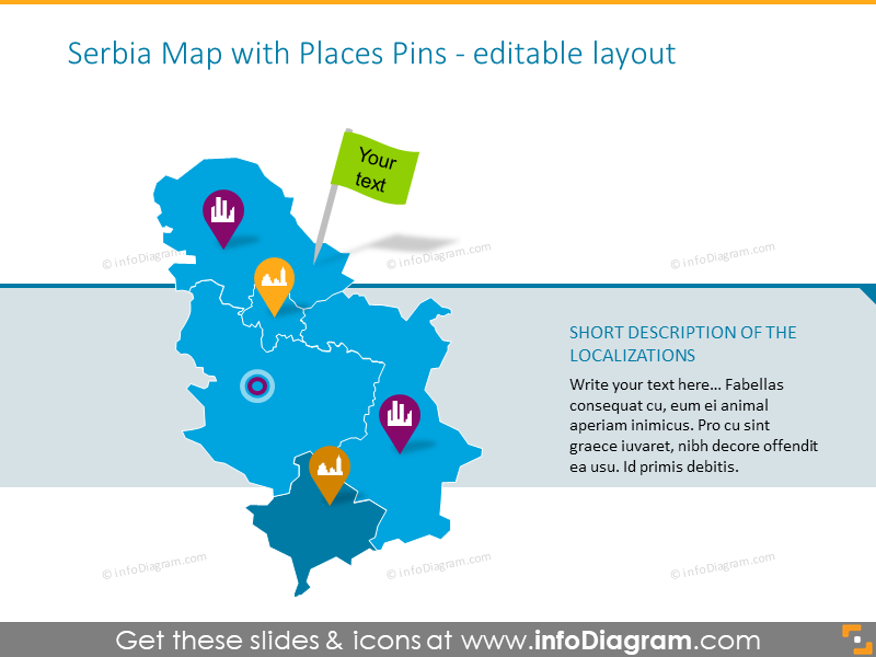 Serbia Map with Places Pins