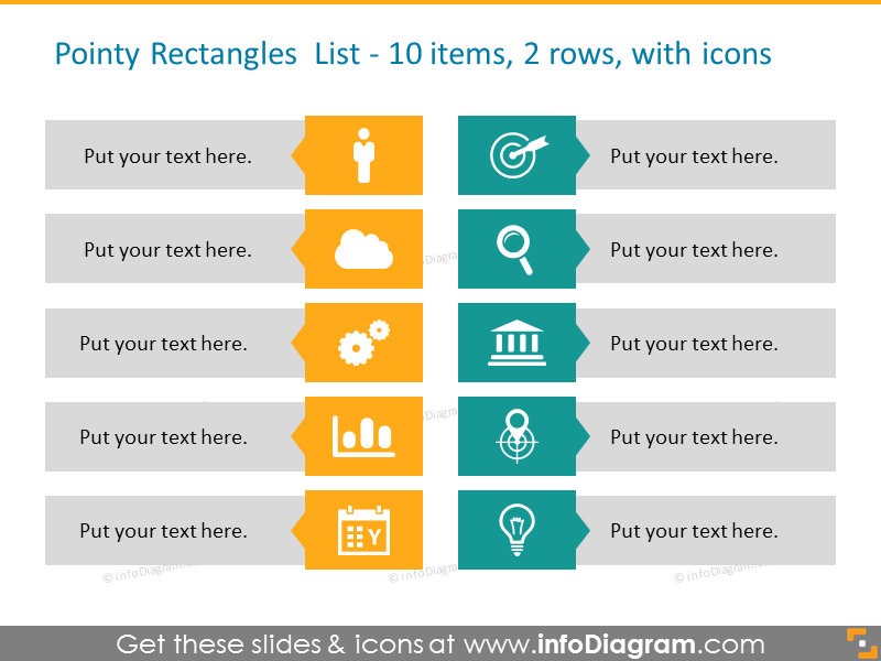 Pointy colored  rectangles list for 10 elements in 2 rows