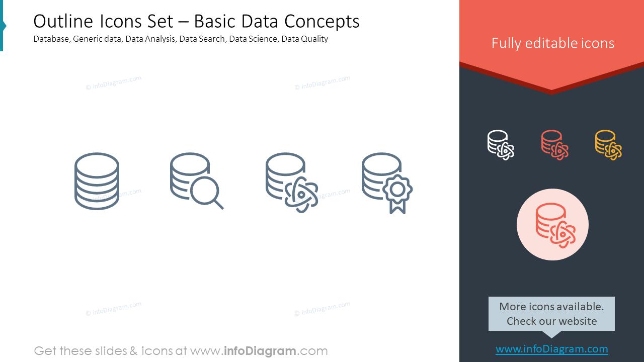 Outline Icons Set – Basic Data ConceptsDatabase, Generic data, Data Analy…