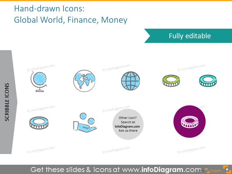 Example of the icons set intended to show global world, finance and money