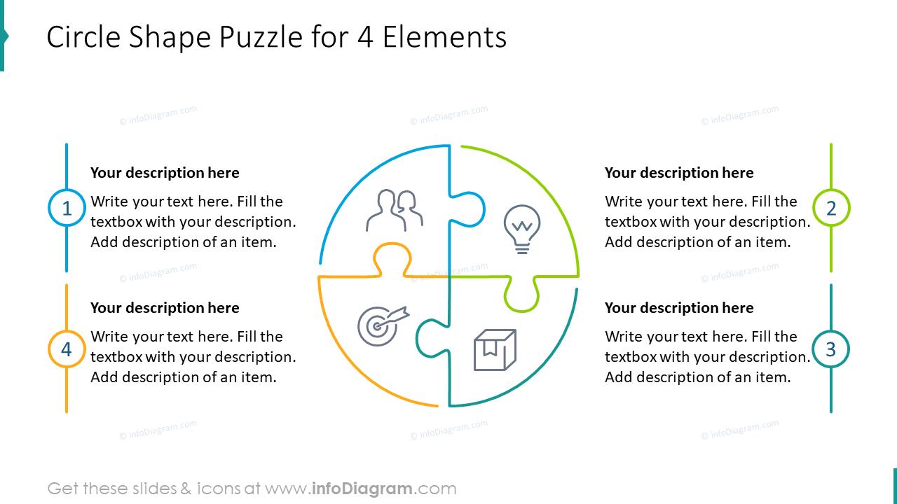 Circle shape puzzle for four elements