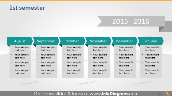 School Calendars 2015 2016 graphics (PPT tables and icons, EU ISO dates)