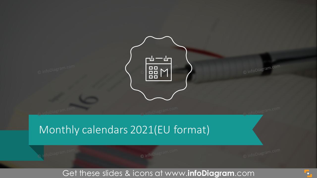 Monthly Calendars 2020 EU